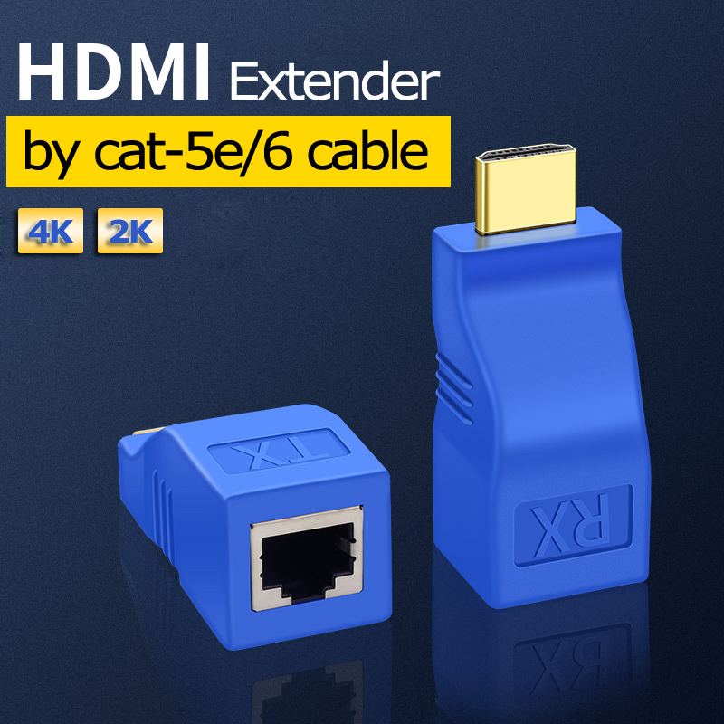 1 Pair HDMI Extender To RJ45 By Cat-5e/6 Cable HDMI To RJ45 Adapter 4K Mini Rj45 Ports 30m HDMI Extension Over CAT5E/6 UTP LAN
