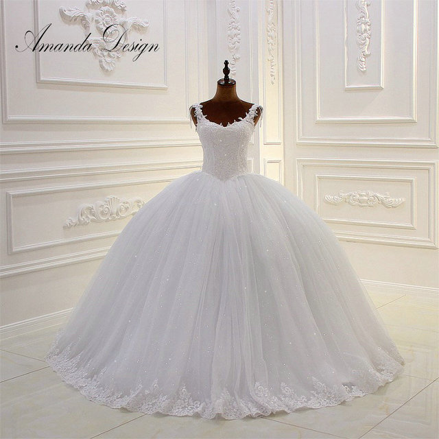 Amanda Design Cap Sleeve Lace Liqued Crystal Straps Ball Gown Wedding Dress No Train