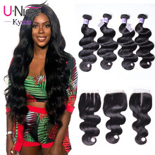 UNice Hair Kysiss Series Body Wave Brazilian Hair Weave 4 Bundles With Closure Natural Color 8-30 Inch 100% Human Hair(China)