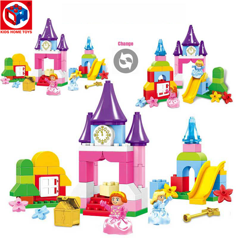 Kids's Home Toys Girl Pink Dream Happy Princess Castle Amusement Park Model Large Particle Block Brick Toy Compatible With Duplo oenux happy princess angel castle model large particles building block kids diy brick toy for girl s gift compatible with duplo