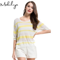 Makuluya New Arrival 2017 Super Thin Women Cardigan Middle Sleeve Breathable Linen Loose Cool Pullovers Sweater