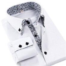 Мода Печатных Двойной Воротник 2017 Новый Дизайн Бизнес Мужские Рубашки Платья Белый Черный С Длинным Рукавом Формальных Мужские Рубашки Сорочки Homme