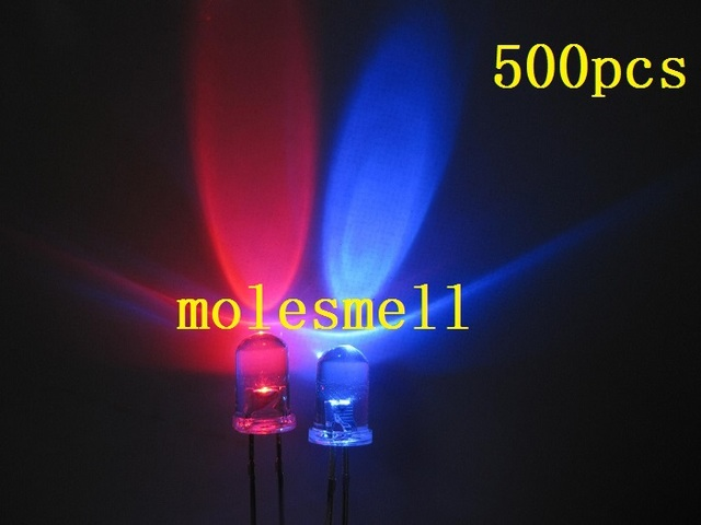 Free shipping 500pcs 5mm Dual Bi Color Polar Changing Red/blue Led water clear Leds 2-Pin led