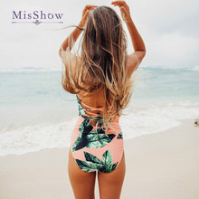 Middle Waist Flower Print One Piece Swimsuit  New Swimsuit Plus Size Women Vintage Lengthen Body Classical Women Swimwear flower print chevron swimsuit