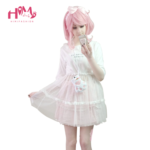 New Fashion Organza Skirt Shirt For Girl Cute White Women Japanese Letters Graphic Summer T Shirt Female Kawaii Veil Cotton Tops