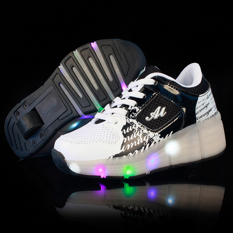 BABAYA Children Sport Led Light Shoes with Wheels Kids Flash Led Light Shoes Boys Girls Glowing Shoes 76 kids shoes boys led lights sneakers with wheels single wheel glowing children shoes