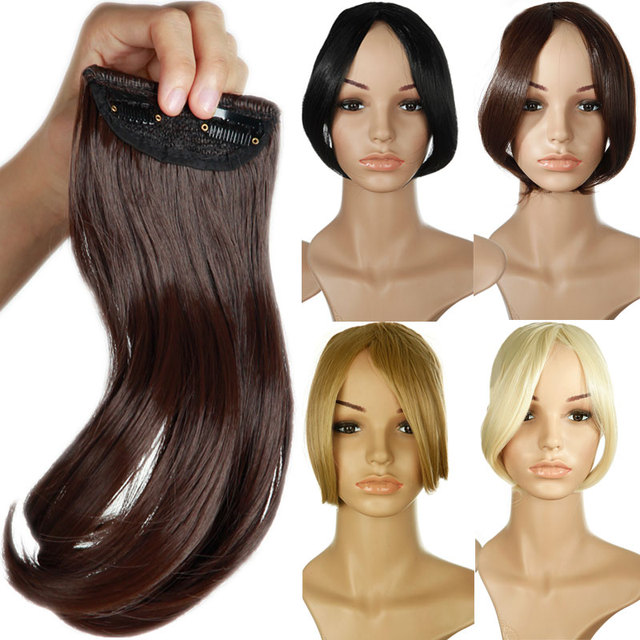 Snoilite 9 Middle Part Bangs Clip In On Bang Fringe Hair Extensions