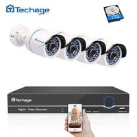 Techage 4CH 1080P POE NVR Kit CCTV Camera System IR Outdoor Security 2MP IP Camera P2P Video Surveillance System Set 1TB HDD