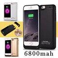 Fochutech 6800 mAh Externa Recarregável Bateria de Backup Charger Case Capa Pacote Power Bank para iPhones 6 6 s Preto Branco ouro