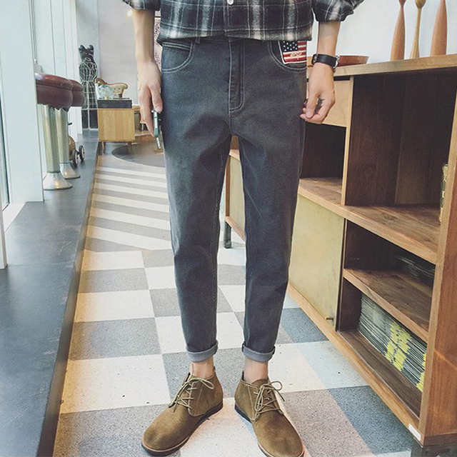 2016 Outono Calças Dos Homens Denim Calças para Homens Coreano Moda Bordado Bandeira América Rua Harém Dos Homens calças de Brim Calças Lápis Maré
