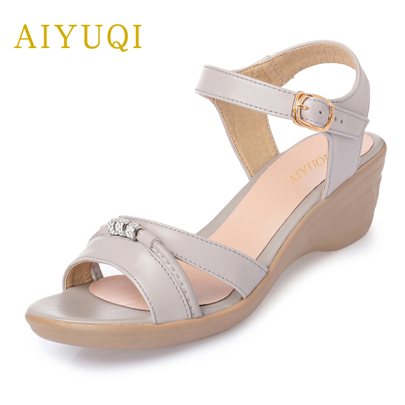 AIYUQI Plus size 41#42#43# summer women's sandals, 2018 new genuine leather female sandals, fashion Handmade shoes women aiyuqi 2018 new genuine leather women sandals summer flat middle aged mother sandals plus size 41 42 43 casual shoes female