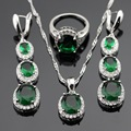 Round Green Created Emerald White CZ Silver Color Jewelry Sets For Women Necklace Pendant Long Drop Earrings Rings Gift Box