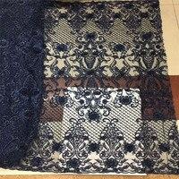 Best продажи африканских Темно синие ручной французский бисером вышитый тюль кружевной ткани X480 1