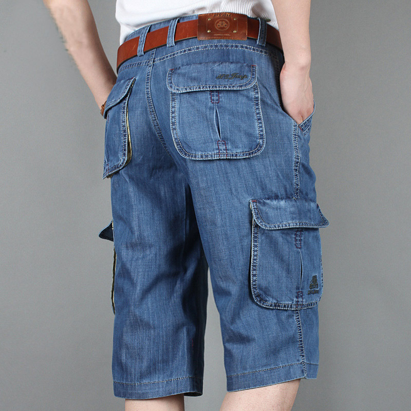 AFS JEEP Jeans Shorts men Casual Summer Denim Shorts Fashion Design Multi Pockets Jeans Cargo Shorts Knee Length Plus size 30-42 afs jeep autumn jeans mens straight denim trousers loose plus size 42 cowboy jeans male man clothing men casual botton