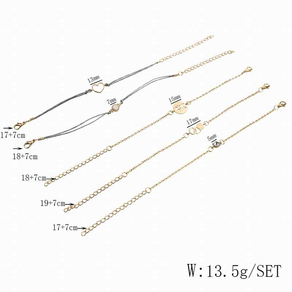 Bohemia Crystal Bracelets for Woman Golden Geometric squares Map Love Rope Chain Charm Bracelet Set Female Fashion Jewelry