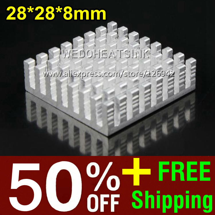 50% OFF + Free Shipping 2,000pcs 28*28*8mm CPU Cooler Heat Sink Silver Slotted Radiator Cooling