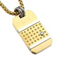 HIP Hop Rock Rose Gold Plated Titanium Stainless Steel Iced Out Mobile Phone Shape Pendants Necklaces