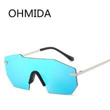 OHMIDA Nueva Moda Sin Montura gafas de Sol Hombres Oculos gafas lentes de sol de Metal Retro Espejo de La Vendimia gafas de Sol de Mujer de Marca de Lujo