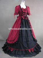 Gothic Red & Black Victorian Period Dress Masquerade Ball Themed Costume Dress