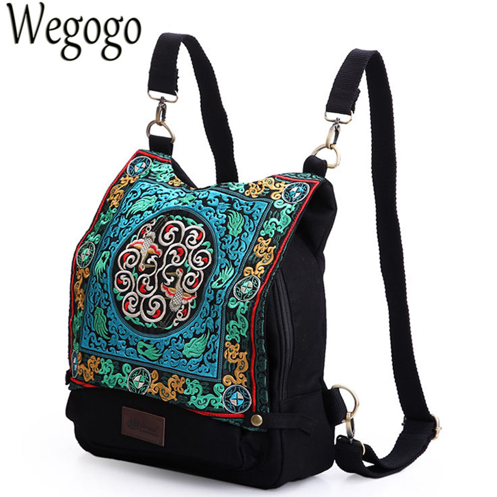 Women Backpacks Embroidery Bags Portable Canvas Bag Girl Travel Bags Ethnic Vintage Leisure Woman Bags Bolsos Mujer Sac A Dos 1pcs urinal gogirl go girl woman urination device 9 5cm stand up pee fud camping travel portable female tiolet