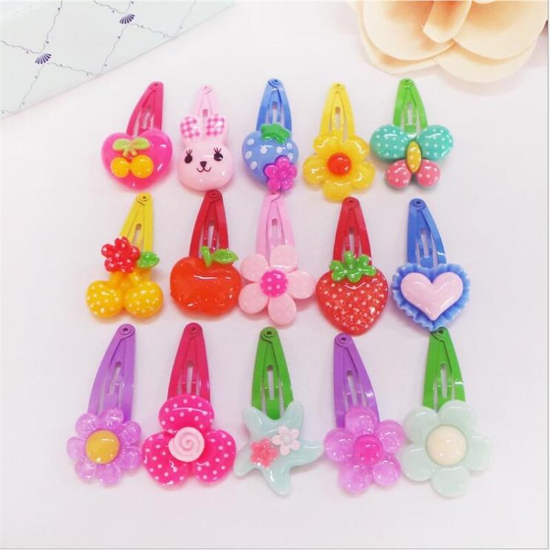 Fashion 10pcs Baby Clip Bow Flower Duckbill Barrette Solid Cs