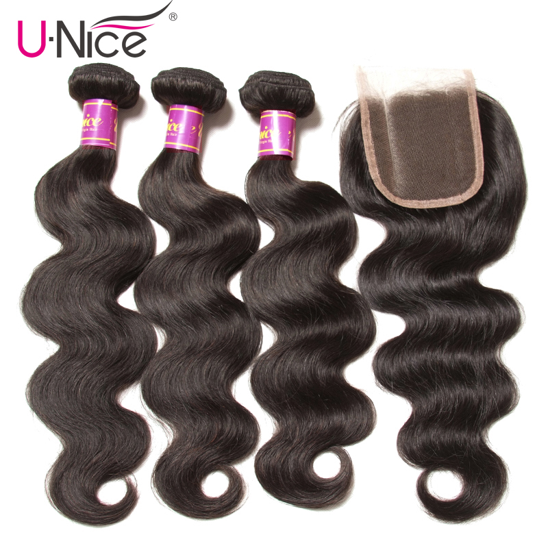 Unice Hair Indian Body Wave Human Hair Bundle With Closure Indian Hair Weave 3 Bundles with Closure Natural Color Remy Hair weft