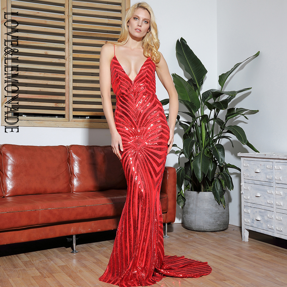 LOVE&LEMONADE Sexy Red Deep V-Neck Open Back Geometry Sequins Long Dress LM81225