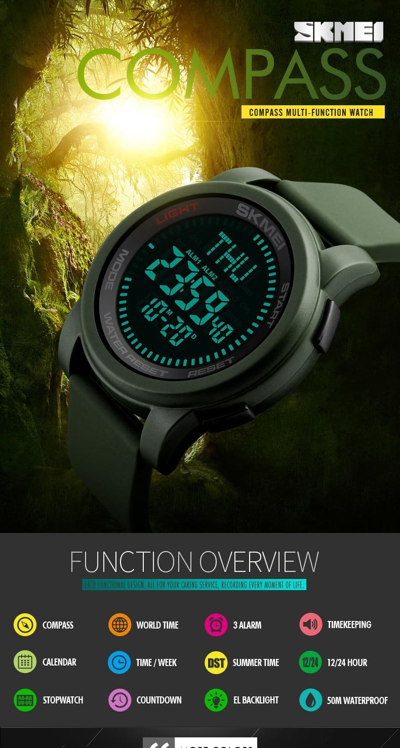 SKMEI 2019 Compass Men Sport Watch 50M Waterproof Man Outdoor Countdown Digital Watch electronic Watch For Men reloj hombre (1)