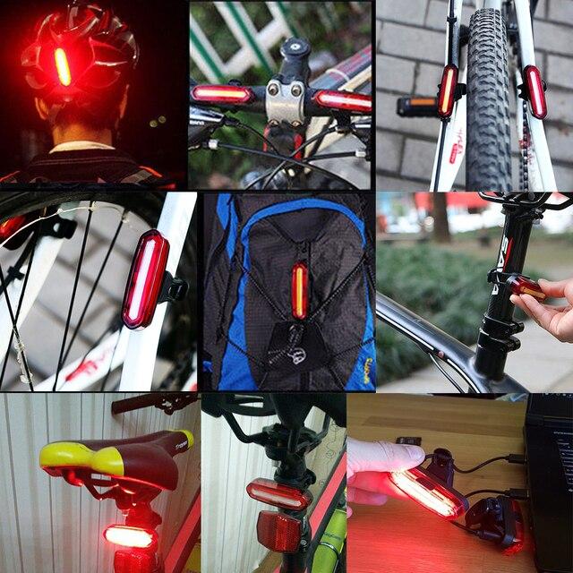 Zacro luz traseira da bicicleta cob luz led recarregável usb segurança lanterna traseira ciclismo mtb à prova dwaterproof água luz traseira lâmpada 3
