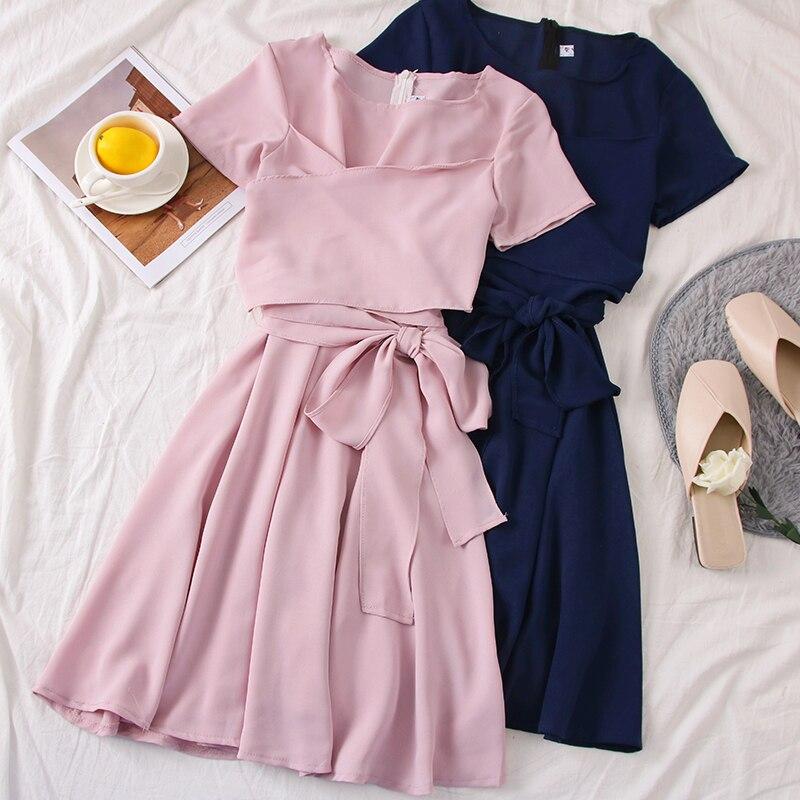 Women's Clothing Summer Female Dresses French Pure V-collar Short Sleeve Received Belt Tie Irregular Dress Resort