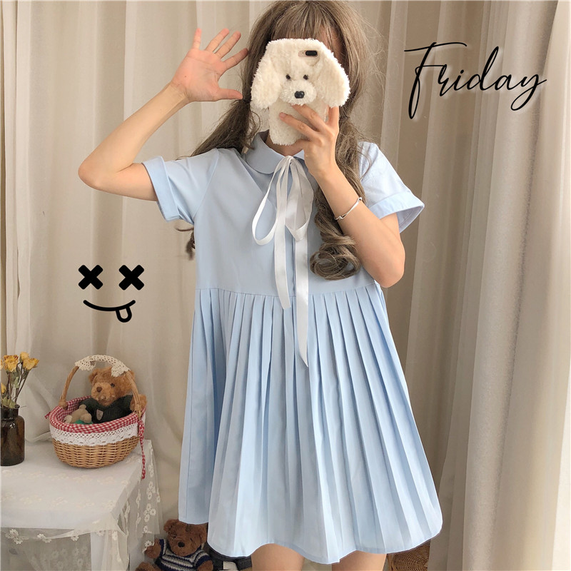 Preppy style Students Doll Collar Summer Lace up Bow Pleated Dress Japanese Women's Kawaii Harajuku Teen Girl Short Sleeve Dress