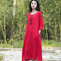 O-neck Long sleeve Cotton Linen Women Long Dress Summer Causal Brief Dress Solid Red White Army green Brand Kawaii Dresses B112