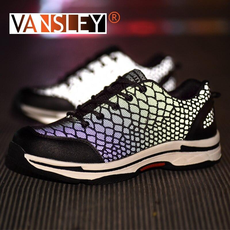 ユニセックスの安全作業靴鋼つま先男性のアンチスマッシング建設スニーカーカメレオン発光反射グレア Sneakers35 48  グループ上の 靴 からの 作業 & 安全ブーツ の中 1