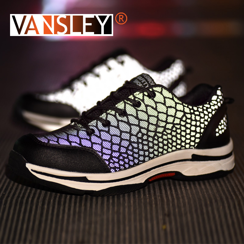Unisex Safety Work Shoes Steel Toe for Men Anti-smashing Construction Sneakers Chameleon Luminous Reflective Glare Sneakers35-48Unisex Safety Work Shoes Steel Toe for Men Anti-smashing Construction Sneakers Chameleon Luminous Reflective Glare Sneakers35-48