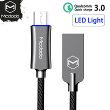 10PCS/LOT Mcdodo Micro USB Cable For Samsung Xiaomi Fast Charging Auto Disconnect Data USB Cable with LED Micro Charging Cable