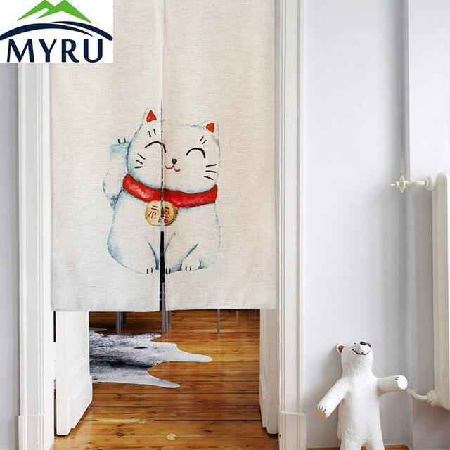 MYRU Glückliche Katze Japanischen Schlafzimmer Küche Tür Vorhang Tuch Vorhang  Fengshui Tür Vorhang Für Schlafzimmer Badezimmer