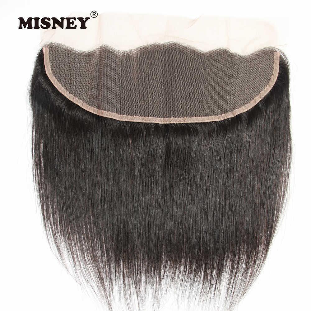 Paquetes de pelo brasileño no Remy sedoso pelo humano recto 3 paquetes con cierre de encaje 4x13
