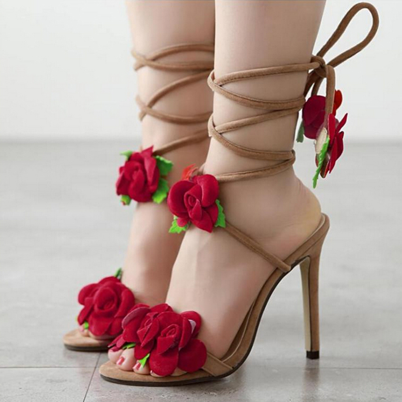 New Women's High Heels Lace Up Rose Flower Open Toe Sandals Shoes Stiletto Party