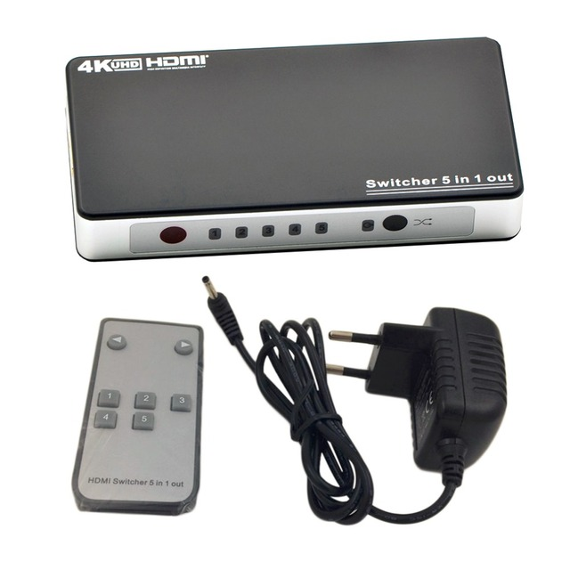 Hot Top Quality Top Performance 5 Port HDMI Switcher Switch 5 In 1 Out Distributor Splitter 1.4V EU Plug With 5V Power Adaptor