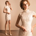 chinese shanghai white lace short cheongsam qipao chi pao dresses elegant plus size hot new