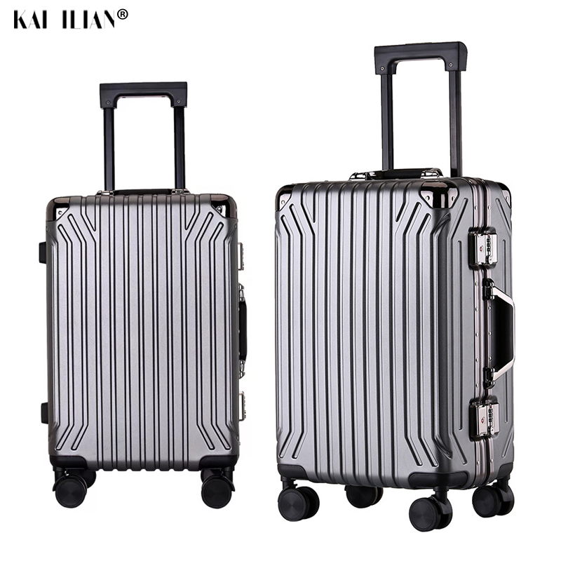 20''24 Inch PC Travel Luggage Spinner Wheels Carry On Suitcase Trolley Luggage Aluminum Frame Big Bag Men's Luxury Suitcase