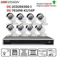 Hikvision Security Camera System Kit 4K NVR DS 7616NI K2/16P&4MP IR Bullet IP Camera DS 2CD2043G0 I Replace DS 2CD2042WD I CCTV
