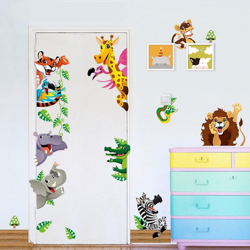 Selva Salvaje Animales pegatinas de pared Para niños habitaciones puerta giraffe