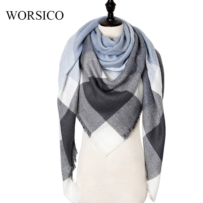 2019 Winter Cashmere Scarf Women Scarf Plaid Blanket New Designer Female Triangle Pashmina Shawls And Scarves 140*140*210cm(China)