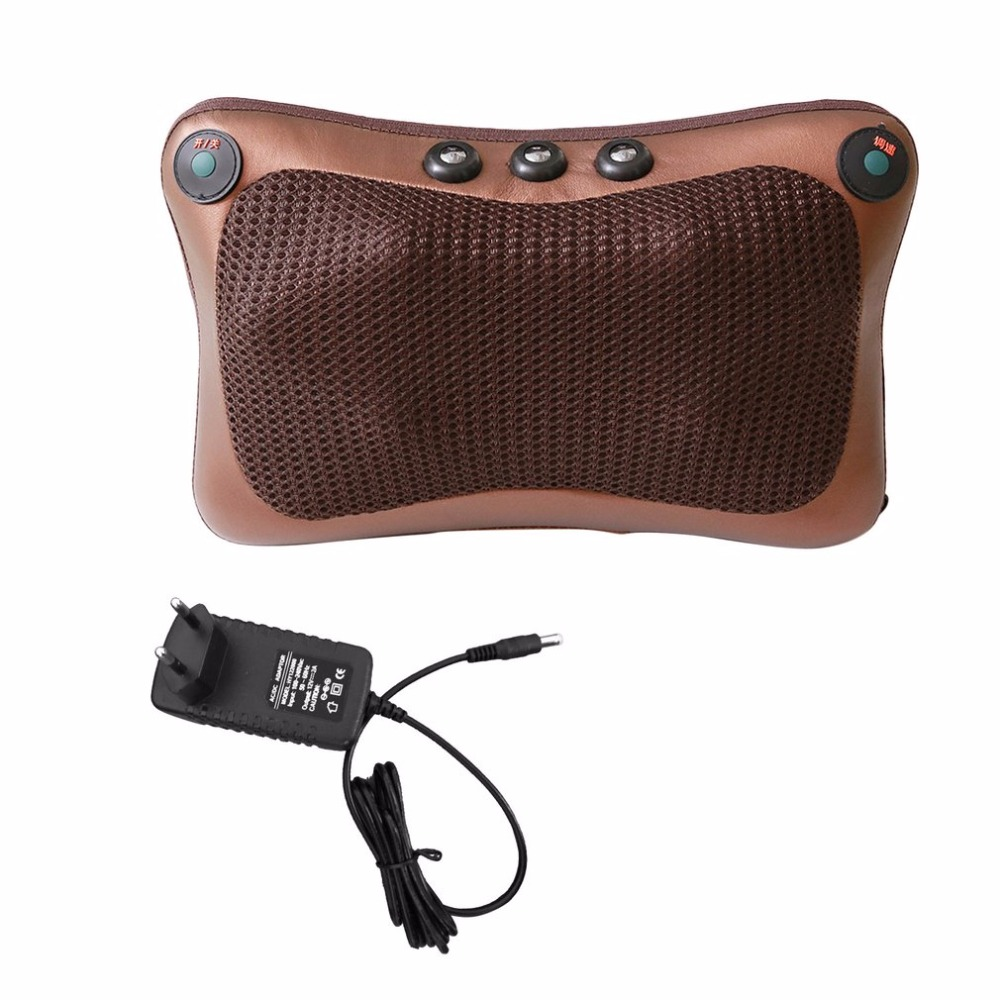 2017 Car Home Office 6 Heads Magnetic Therapy Electronic Neck Massager Neck Shoulder Back Waist Massage Pillow Cushion New lenwave 1500 magnetic therapy thin waist aerobic exercise twist board orange white grey