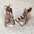 Comercio al por mayor 10 par/lote verano descalzo sandalias de bebé de cuero genuino suave suela lace up baby girls sandalias de gladiador zapatos de los niños