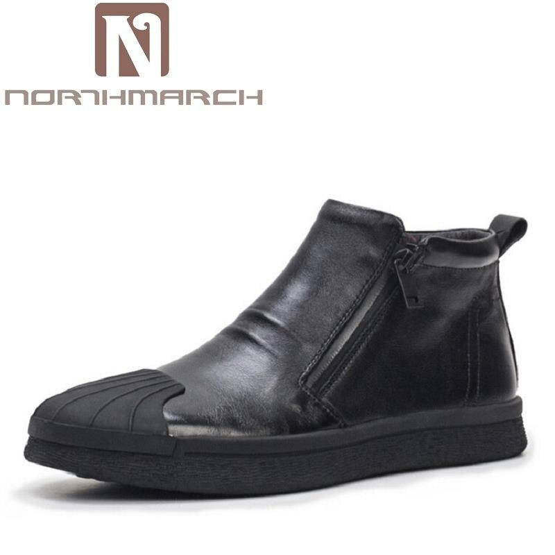 Calçado Clássicas E Botas Zip Da Couro Motocicleta Homme Preto Tornozelo Homens Outono Sapatos De Martin Northmarch Dos Inverno Bottine ZqP0z55