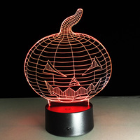 Halloween Pumpkin 3D Lamp Decor Light Action Toy Figure Gift LED Table Lamp Made 7 Color