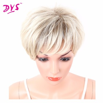 Deyngs Short Layered Blonde/Brown Full Synthetic Wigs for African American Kanekalon Women's Wigs with Bangs Pixie Cut 6Inch