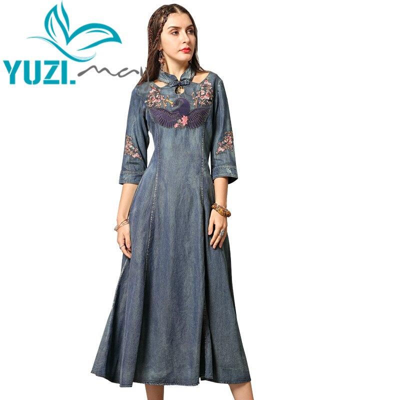 Summer Dress 2019 Yuzi may Boho New Denim Women Dresses Stand Collar A line Three Quarter